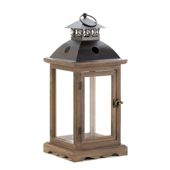 Large Rustic Wood Lantern, $29.95