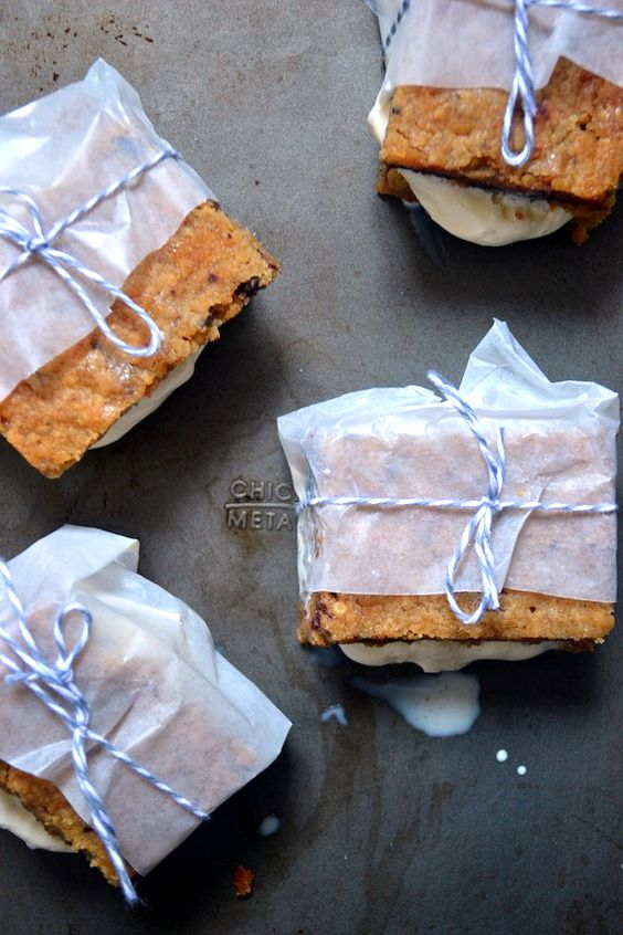 Sage Recipes | Homemade Ice Cream Sandwiches with Caramel Chocolate Chip Cookie Bars | http://www.sagerecipes.com