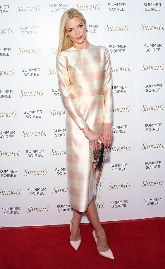 Jaime King does feminine like no other in this cream and pink striped dress.