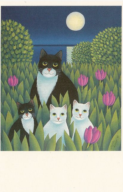 Cats and a moon by Paicil, via Flickr. a postcard by Martti Lehto. Printed in Finland by Paperitaide, SPR-produkt. 26069: