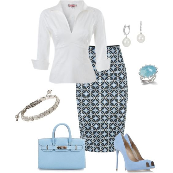 A fashion look from May 2014 featuring zipper top, blue pencil skirt and blue platform pumps. Browse and shop related looks.