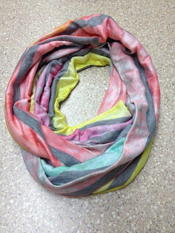 Tye Dye and grey striped jersey knit infinity scarf by mgnaffziger