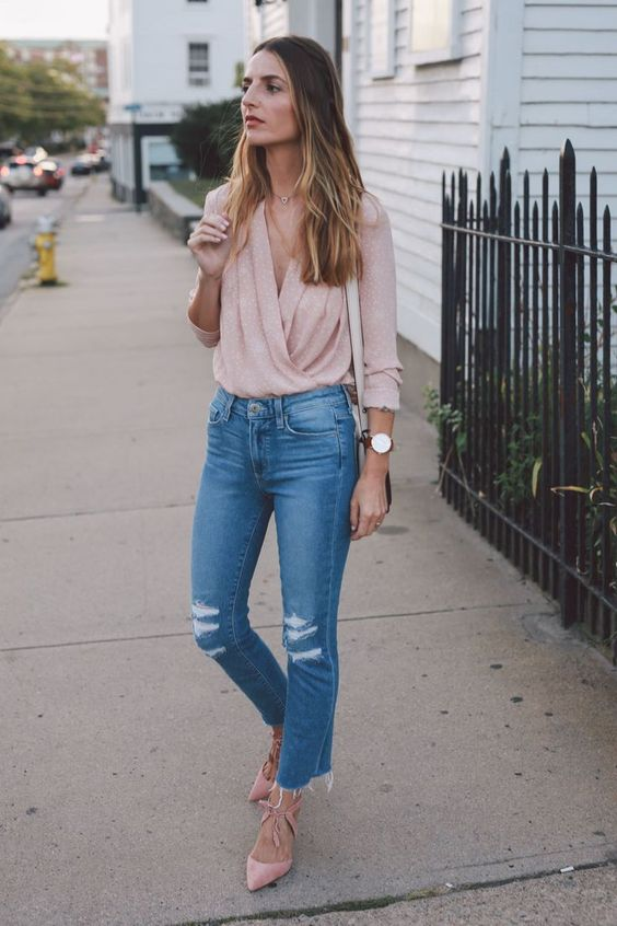 blush wrap blouse paige straight leg jeans ann taylor heels prosecco and plaid-6