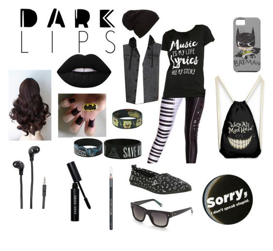 """""""dark lips? YESSS"""" by musicjunkie2213 ❤ liked on Polyvore featuring beauty, Lime Crime, Bobbi Brown Cosmetics, Barry M, Merkury and FOSSIL"""