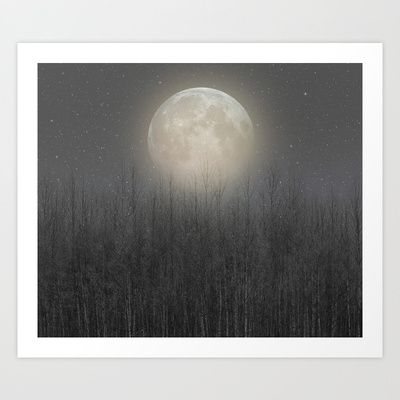 The Moon Shines Bright (Birch Moon II) Art Print by Soaring Anchor Designs
