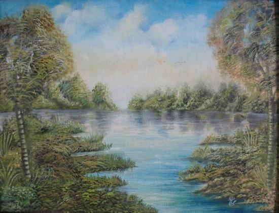 15-soumicha.jpg - Painting,  65x50 cm ©2013 by soumicha BACHIRI -            paysage