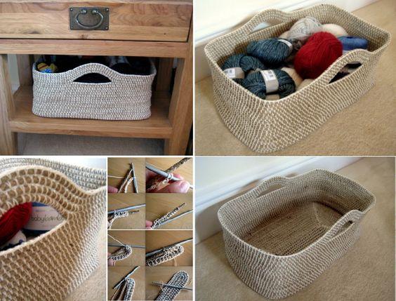Crochet Corda Cesta Padrão grátis