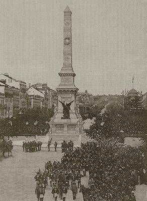 Lisboa, praça dos restauradores - 1890  Cerimónia de Aclamação de Sua Magestade El Rei Dom Carlos