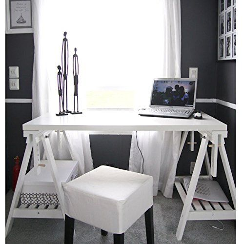 ikea linnmon white desk table 48x24 with 2 trestle shelf. Black Bedroom Furniture Sets. Home Design Ideas