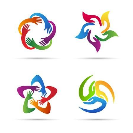Abstract Hands Vector Design Represents Teamwork Unity Signs Unity Logo Logo Design Samples Vector Design