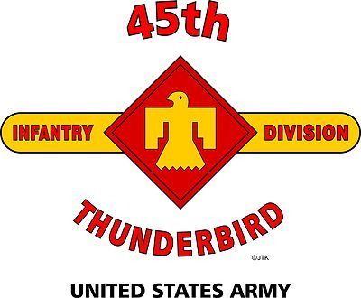 "45th Infantry Division "" Thunderbird "" United States Army Shirt. WORLD WAR II Mediterranean & European Campaigns: Sicily*Naples-Foggia*Anzio*Rome-Arno*Southern France* Rhineland*Ardennes-Alsace*Central Europe. (August 1945 Location:Munich, Germany) (Killed In Action: 3,457) (Wounded In Action:14,441) (Died Of Wounds:533)"