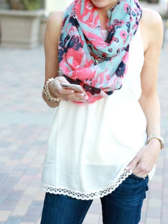 Stitch fix trends. 2016. Spring scarf. Pinks and blues