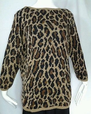 Womens Lauren Ralph Lauren Linen Blend Hand Knit Leopard Print Sweater - Size 1X
