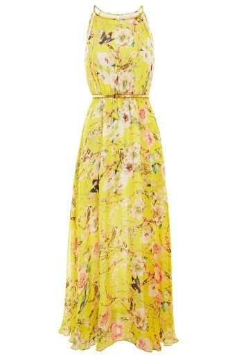 Bright yellow, this fully-lined maxi dress has a seasonal cherry blossom print that you'll bloomin' love. The elasticated waist is finished with a skinny, metallic belt to draw attention to your waist, while the pleated skirt will skim flatteringly over your hips. #classic_bohemian UK/EU Friendly!!