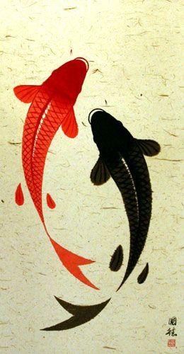 Black and orange koi design.