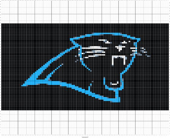 Knitting Chart Software Free : Carolina panthers knitting graph chart digital download by