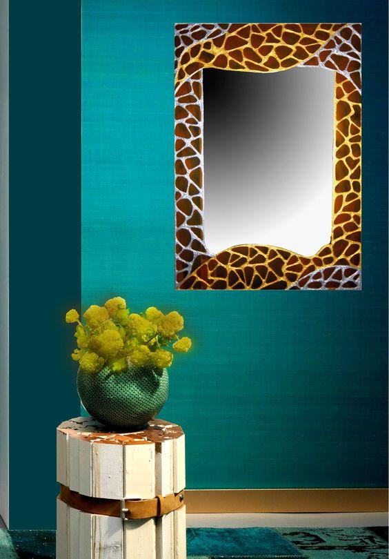 Espejos de cristal decorados a mano gaudi jaune www - Cristal de espejo ...