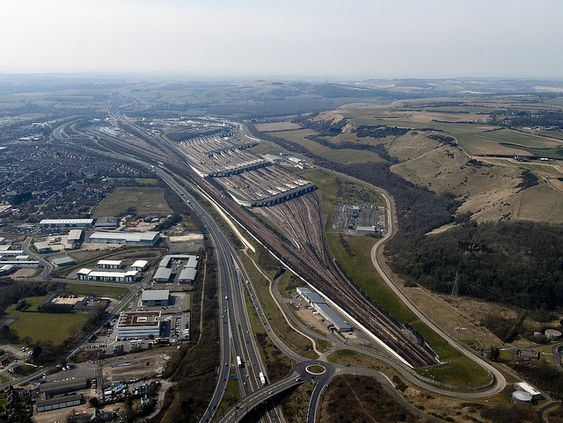 Aerial view of Channel Tunnel