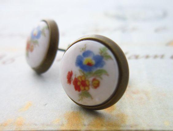 Vintage Japanese Porcelain Stud Flower Earrings 10mm. £6.00, via Etsy.