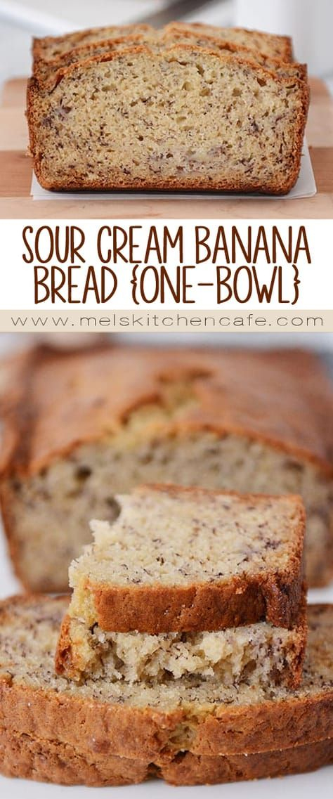 Sour Cream Banana Bread Recipe One Bowl Mel S Kitchen Cafe Recipe Sour Cream Banana Bread Sour Cream Recipes Banana Nut Bread Recipe