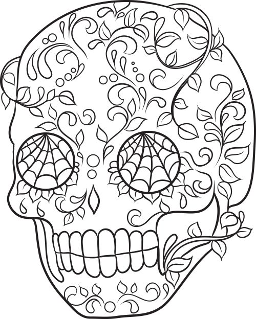 sugar skull  free coloring and day of the dead on pinterest