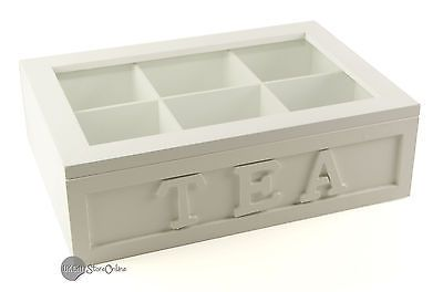 Vintage Shabby Chic - WOODEN BOX TEA BAG CHEST 6 COMPARTMENT TO0079