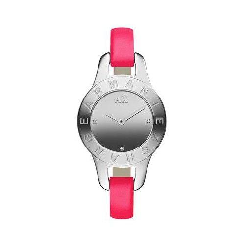 Armani Exchange AX4137 Neon Pink Leather Band Women's Watch