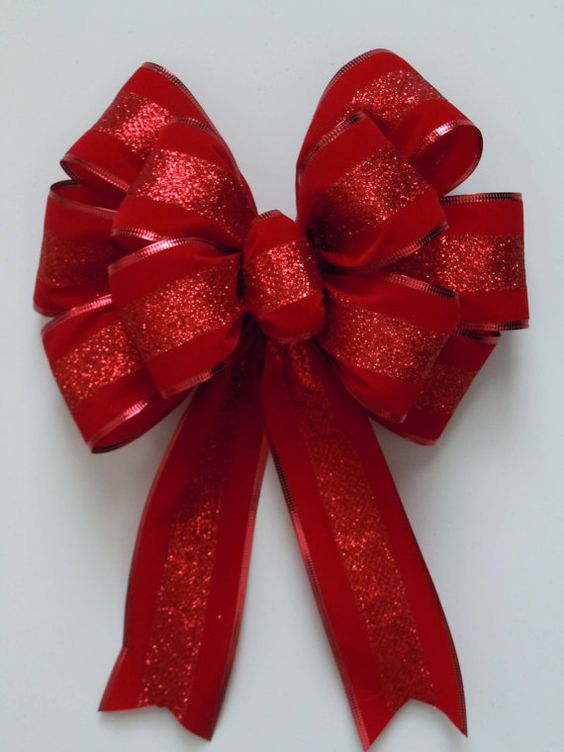 Christmas Decorations Red Bows : Holiday christmas red bow sparkle velvet