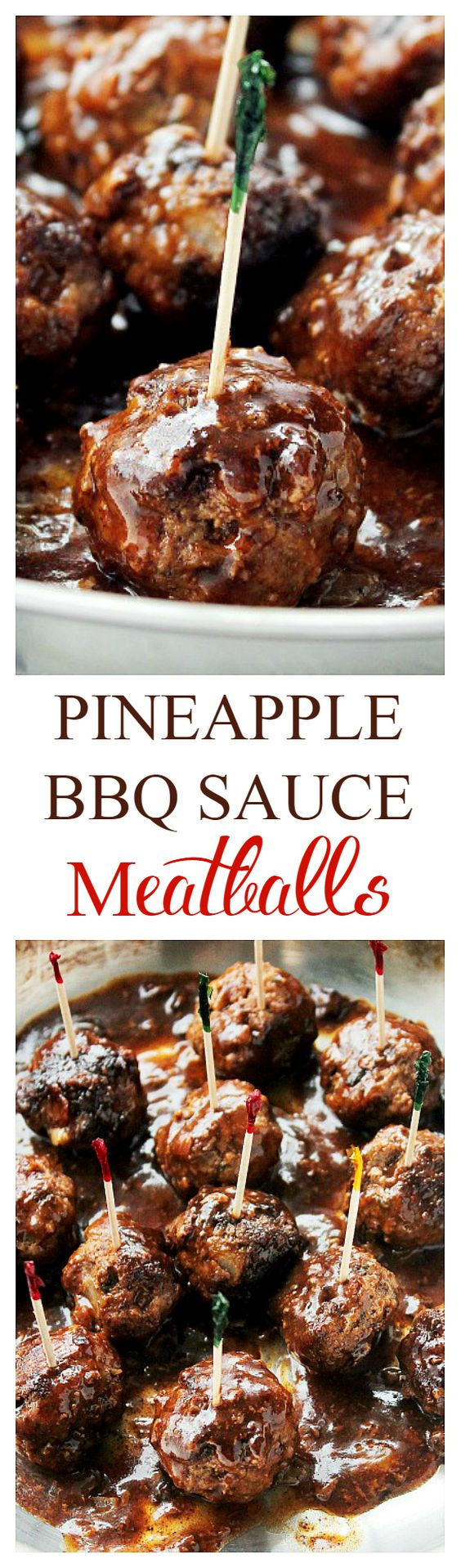 Pineapple Barbecue Sauce Glazed Meatballs - Delicious, juicy, homemade Meatballs prepared with a sweet and tangy Pineapple Barbecue Sauce. Get the recipe on diethood.com