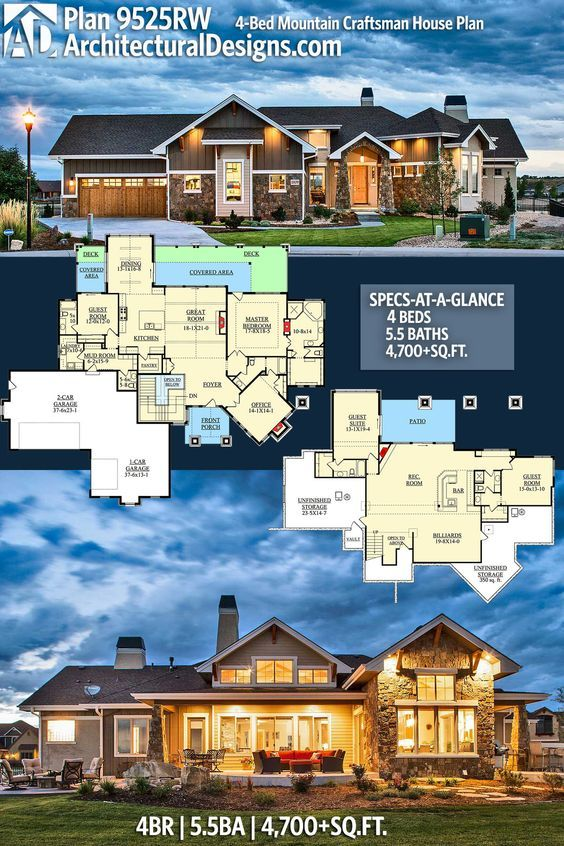 Plan 9525rw 4 Bed Mountain Craftsman House Plan Craftsman House Plan House Plans Craftsman House