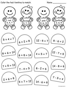 Gingerbread fact family math activities--free! | Best of Christmas ...