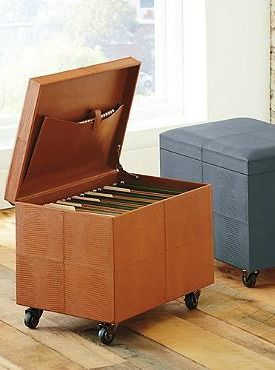 Handsomely, and secretively store important documents in the Mobile File Ottomans that keep your home office efficient and stylish.