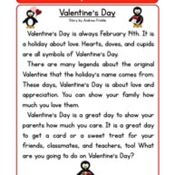 holiday stories comprehension valentines day  ESL teaching