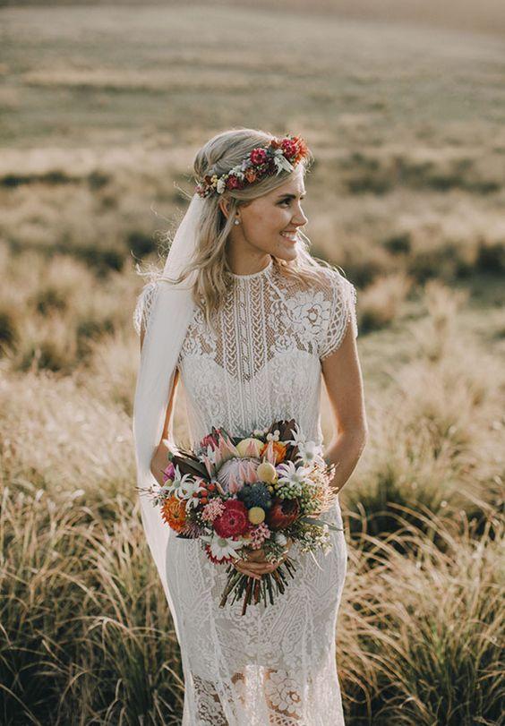 Lace Wedding Dress | Bright Flowers | Flower Crown | Wedding Bouquet | Boho Bride | Wedding inspiration |