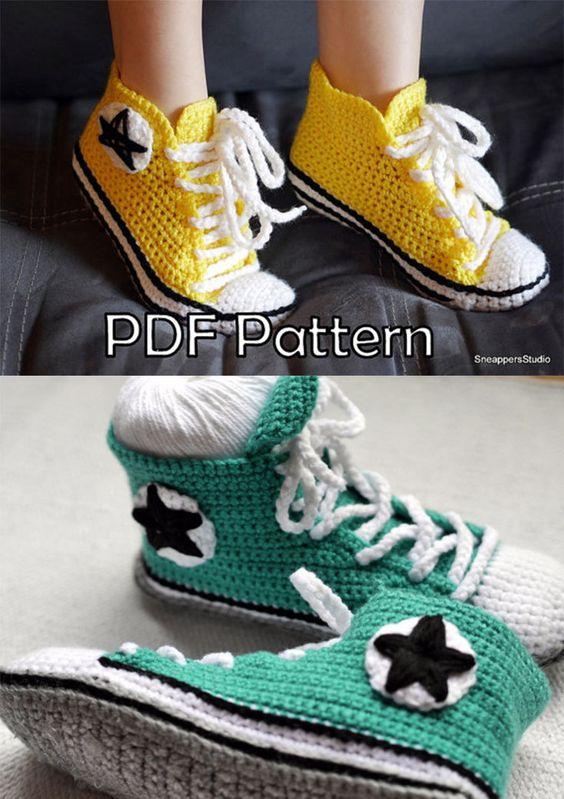 converse inspired size women 6 11 or men 5 10 us sneakers crochet pattern patterns crochet. Black Bedroom Furniture Sets. Home Design Ideas