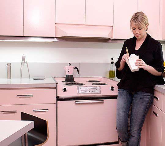 Decoración de cocinas en rosa pálido.