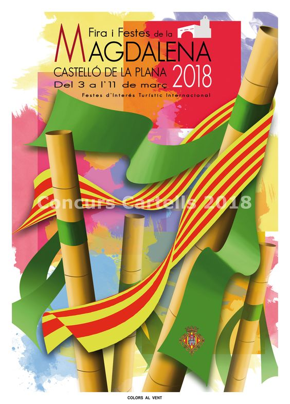 Cartel Fiestas de la Magdalena 2018 Castellón 2018  Titulo: Colors al vent  Autor: Marisol Barceló y Juan Vicente Fabregat