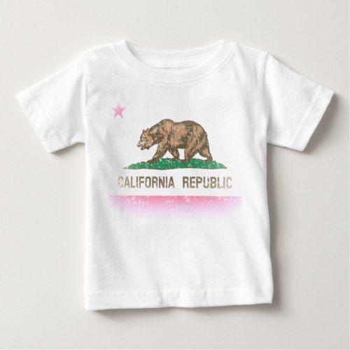 Vintage Fade California Republic Flag Baby T Shirt Zazzle Com California Republic Custom Shirts California Republic Flag