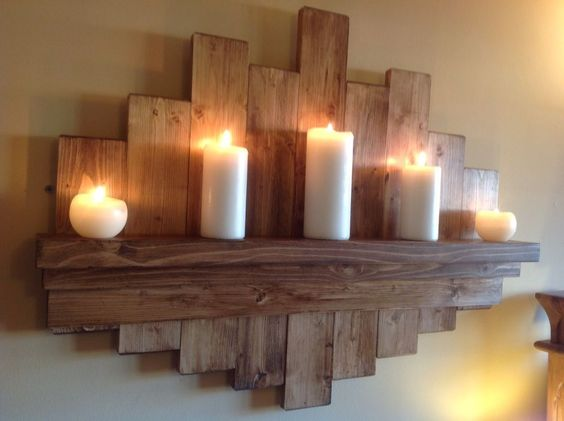 floating Rustic Wall Shelf original art work, reclaimed hand finished, oak waxed