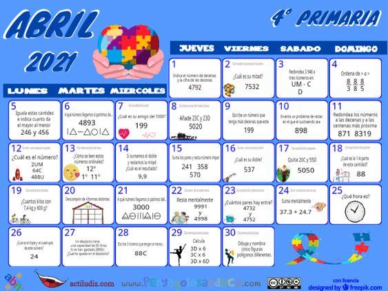 Calendario Cuarto ABN – Abril 2021