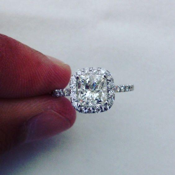 2.25CT cushion cut diamond engagement ring. #Padgram
