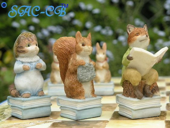 Peter Rabbit Hand Painted Chess Set With Board and Case