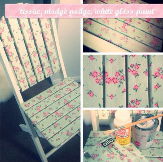 Upcycle old wooden furniture using paper napkins and mod podge. http://hative.com/cool-and-easy-diy-mod-podge-crafts/