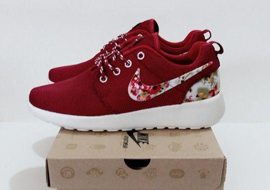 Exceed 54% off Womens Nike Roshe Run Burgundy Flower Print White ...