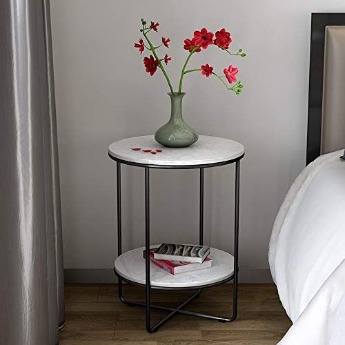 Shelves Zr Marble Round Side End Table Modern Lightweight Metal