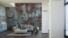 Tapeten im Wohnzimmer; Architects Paper Fototapete «Verrostetes Metall» 470404
