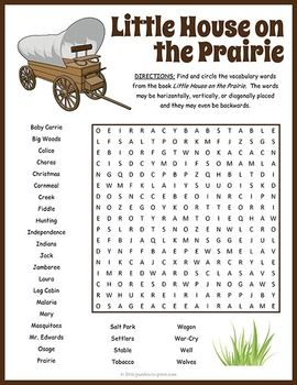 Little House on the Prairie Word Search | Early finishers ...