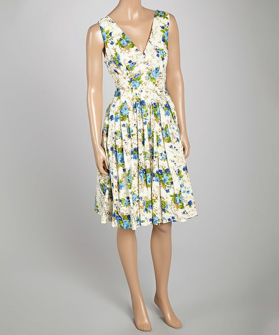 Another great find on #zulily! Aryeh Blue Floral V-Neck Dress by Aryeh #zulilyfinds