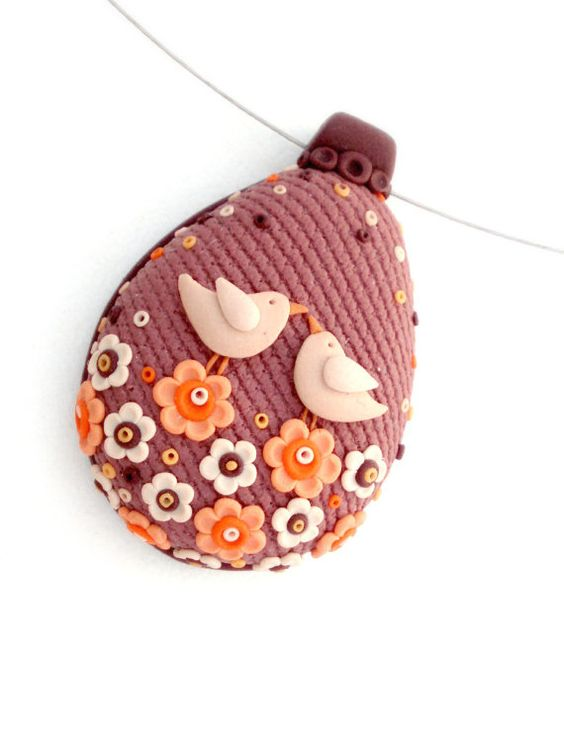 Polymer Clay Birds in Love Pendant Necklace by MemecoShop on Etsy