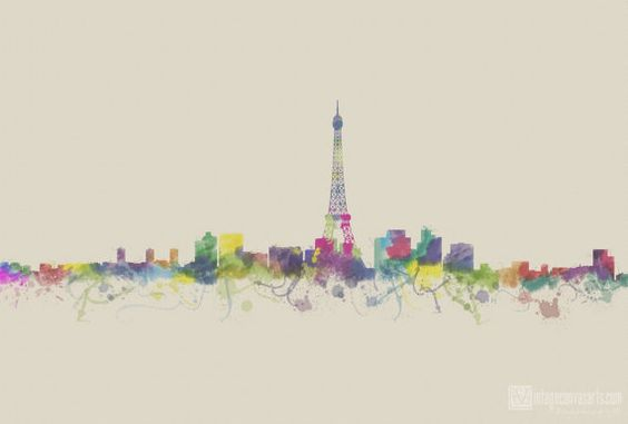 PARIS SKYLINE Abstract skyline Watercolor by VintageArtPosters